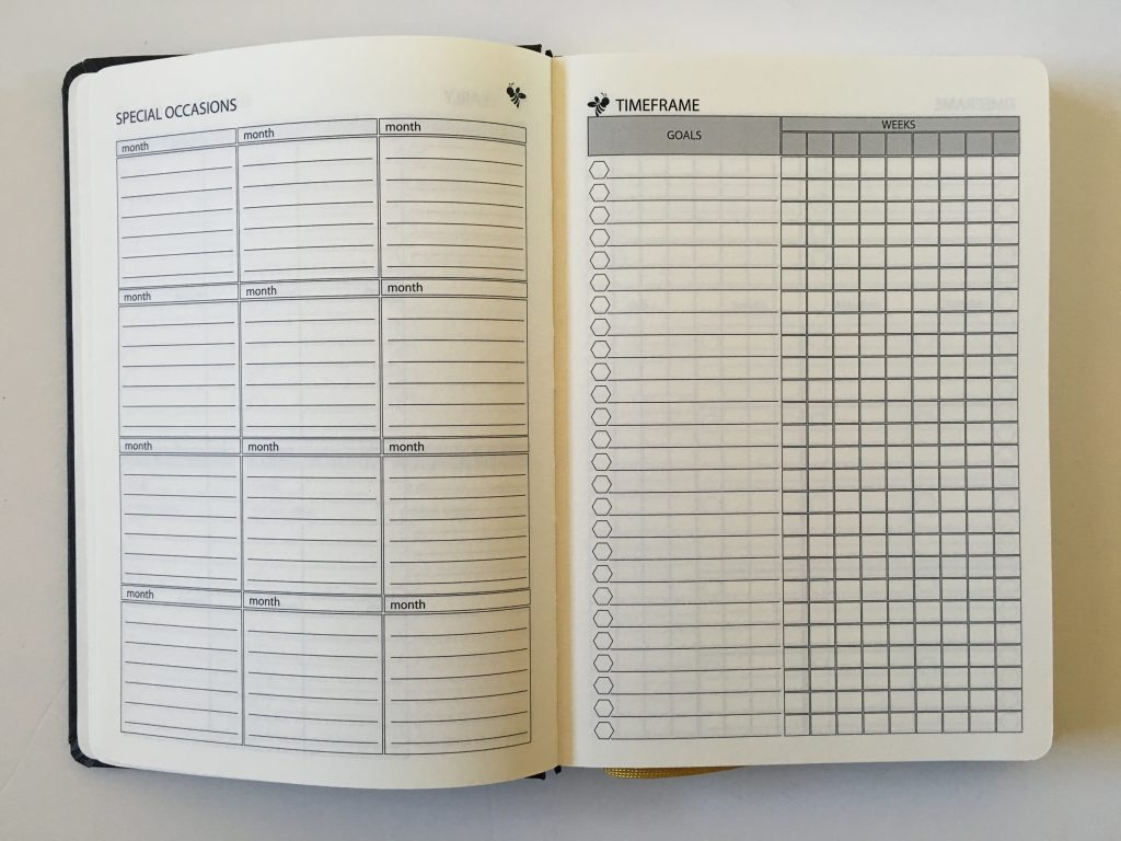 happy bee planner review weekly monthly undated vertical hourly layout 5am to 11pm schedule lined monthly calendar video flipthrough_08