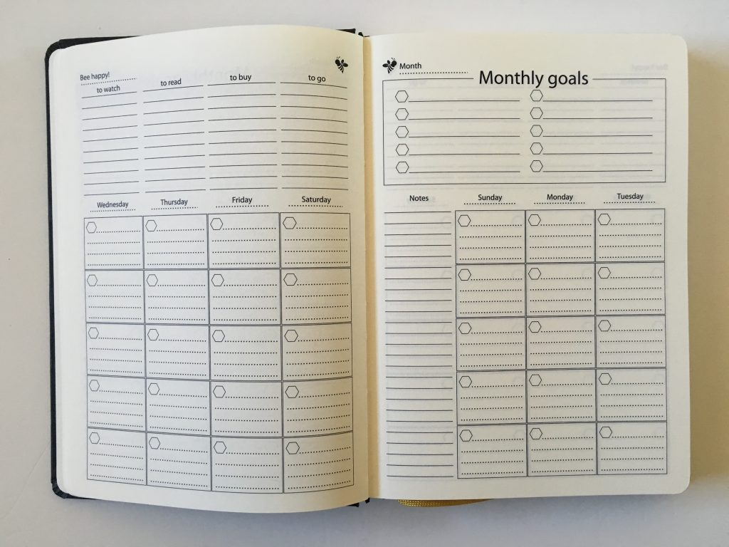 happy bee planner review weekly monthly undated vertical hourly layout 5am to 11pm schedule lined monthly calendar video flipthrough_10