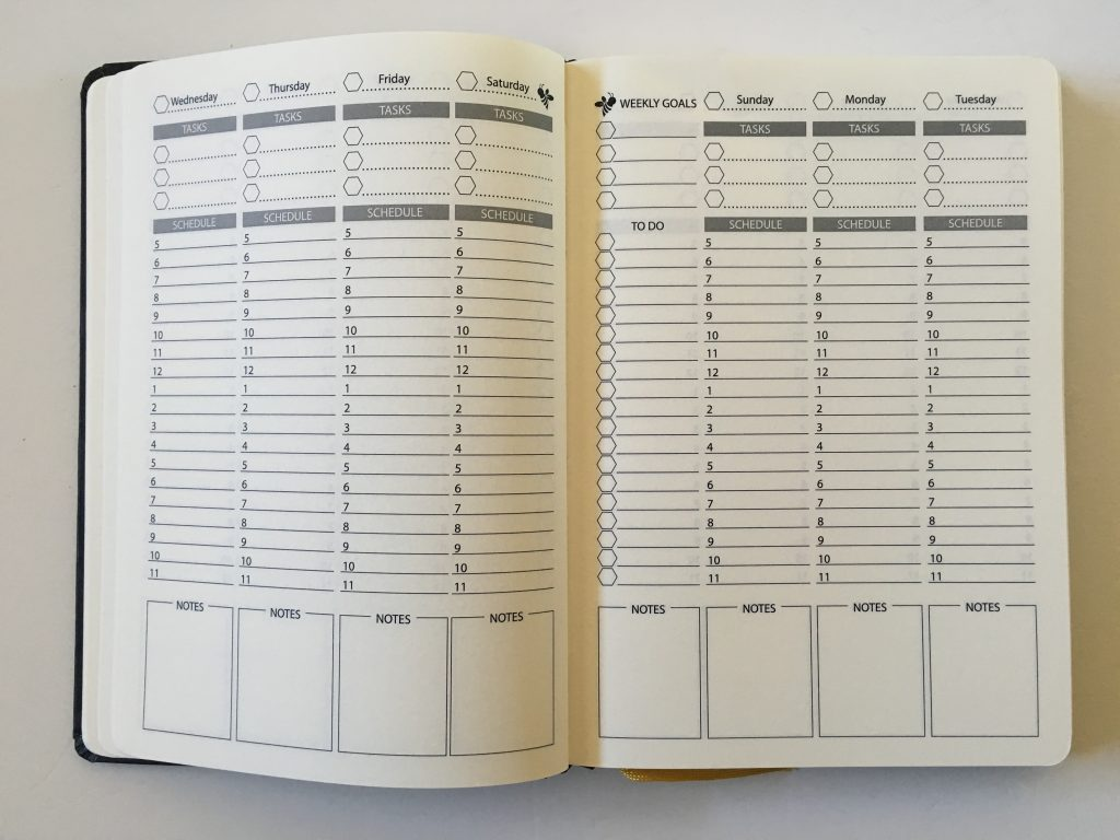 happy bee planner review weekly monthly undated vertical hourly layout 5am to 11pm schedule lined monthly calendar video flipthrough_11