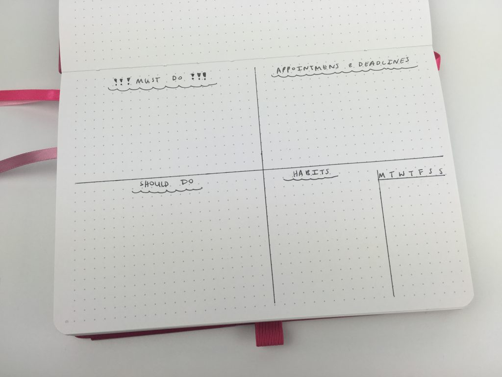 landscape bullet journal weekly spread no days of the week simple quick easy minimalist