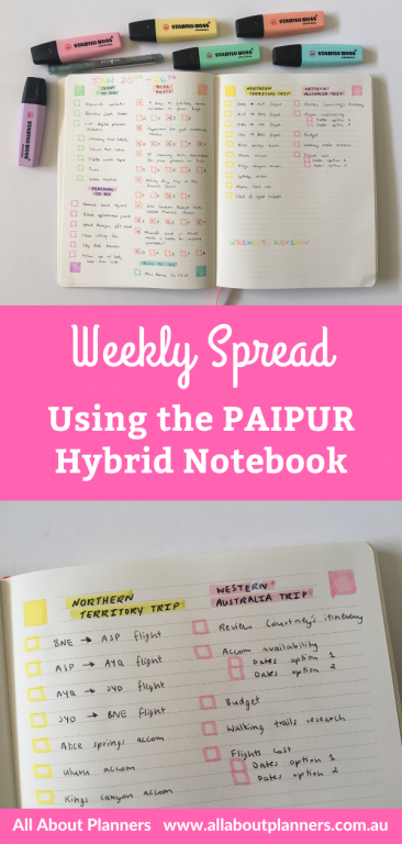 paipur hybrid notebook weekly spread stabilo boss pastel highlighters theme lined dot grid simple quick easy color coded lists travel planning tips large page size