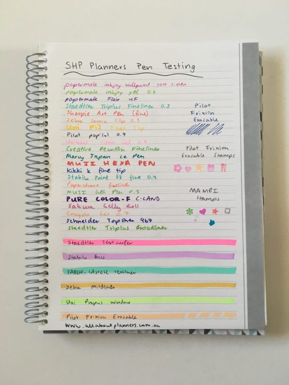 shp planner review pen testing paper quality ghosting bleed through indenting pilot frixion erasable gel fine tip ballpoint