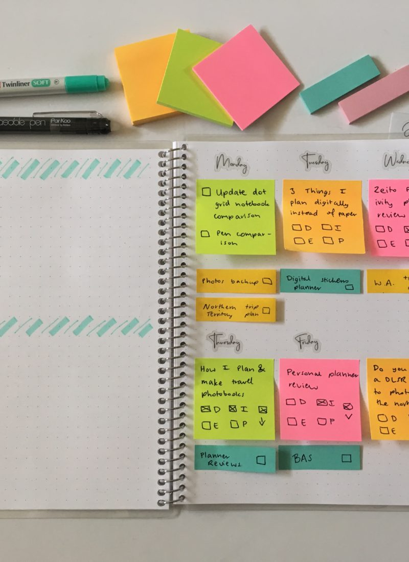 sticky note weekly spread pastel planning tips simple quick easy bujo alternative post it note 3M planning