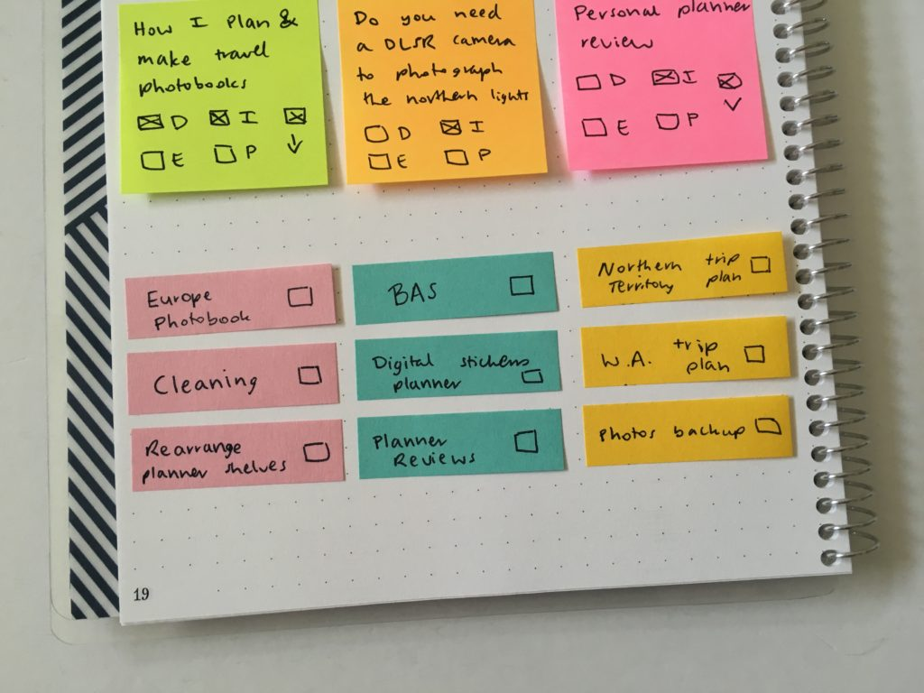 sticky note weekly spread using small sticky notes for recurring tasks save time planning tips