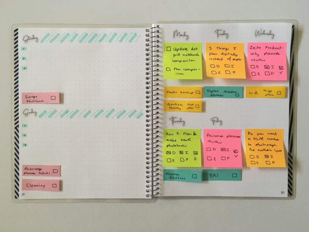 weekly planning using sticky notes recurring tasks blog planning reusable repositionable great for recurring tasks
