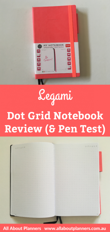 Legami notebook review dot grid bullet journal bujo pros and cons bright white paper pen testing ghosting bleed through 5mm spacing monthly calendar annual reviews italy video flipthrough