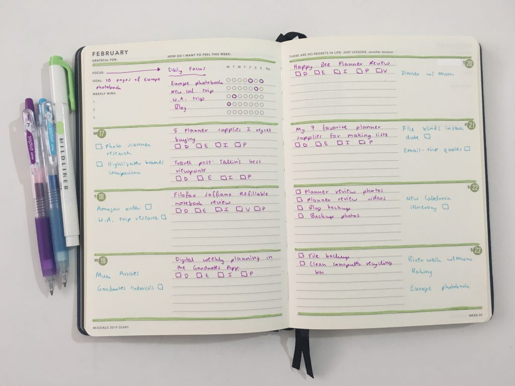 Mi Goals weekly spread simple color coding highlighters pilot poplol lined and unlined horizontal monday week start minimalist carpe diem stickers date dot using an expired planner_03