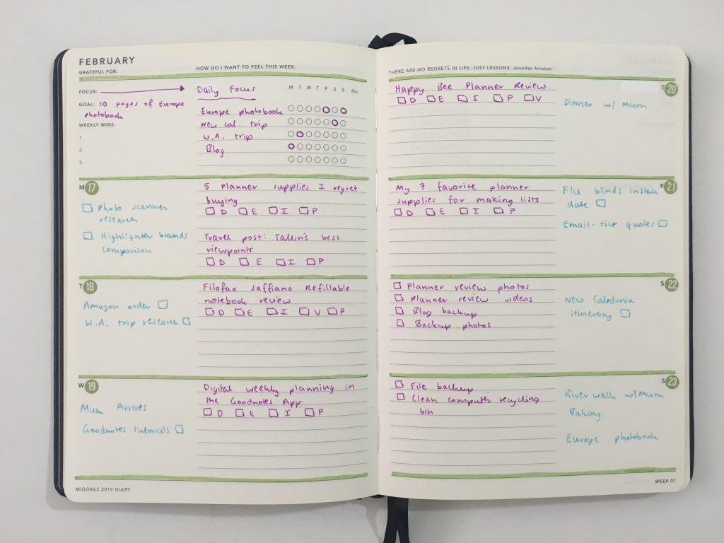 Mi Goals weekly spread simple color coding highlighters pilot poplol lined and unlined horizontal monday week start minimalist carpe diem stickers date dot using an expired planner_04