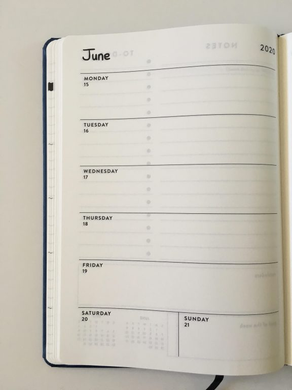 OTTO weekly planner review officeworks australia monday week start horizontal 1 page plus checklist notes sewn bound cheap 2 page monthly calendar pen testing aussie planner review_07