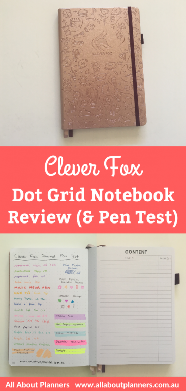 clever fox dotted journal notebook review pen testing pros and cons video flipthrough bright white paper minimal ghosting and bleed through multiple cover colors all about planners youtube