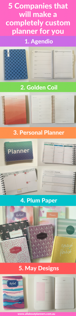 companies that will make a completely custom planner personalised weekly spread monthly calendar cover sunday monday start colors daily coil bound sewn bound
