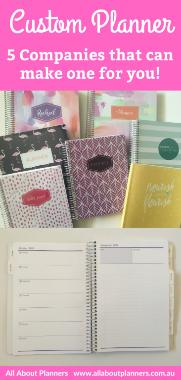 custom planner 5 companies that can make one for you personalised cover weekly spread monthly calendar checklist bullet journal monthly planning change colors fonts layout