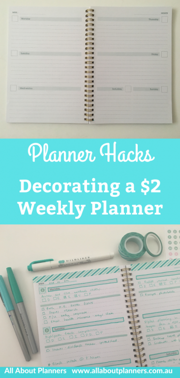 decorating a $2 weekly planner hacks tips ideas simple layout minimalist highlighters teal blue horizontal cheap dollar store inspiration all about planners