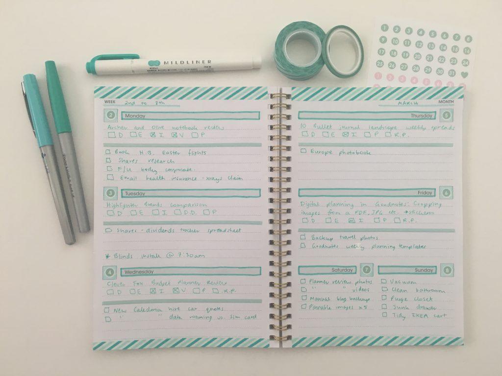 decorating a $2 weekly planner washi tape decorating mint zebra mildliner papermate fineliner simple minimalist quick easy reject shop planner hack_04
