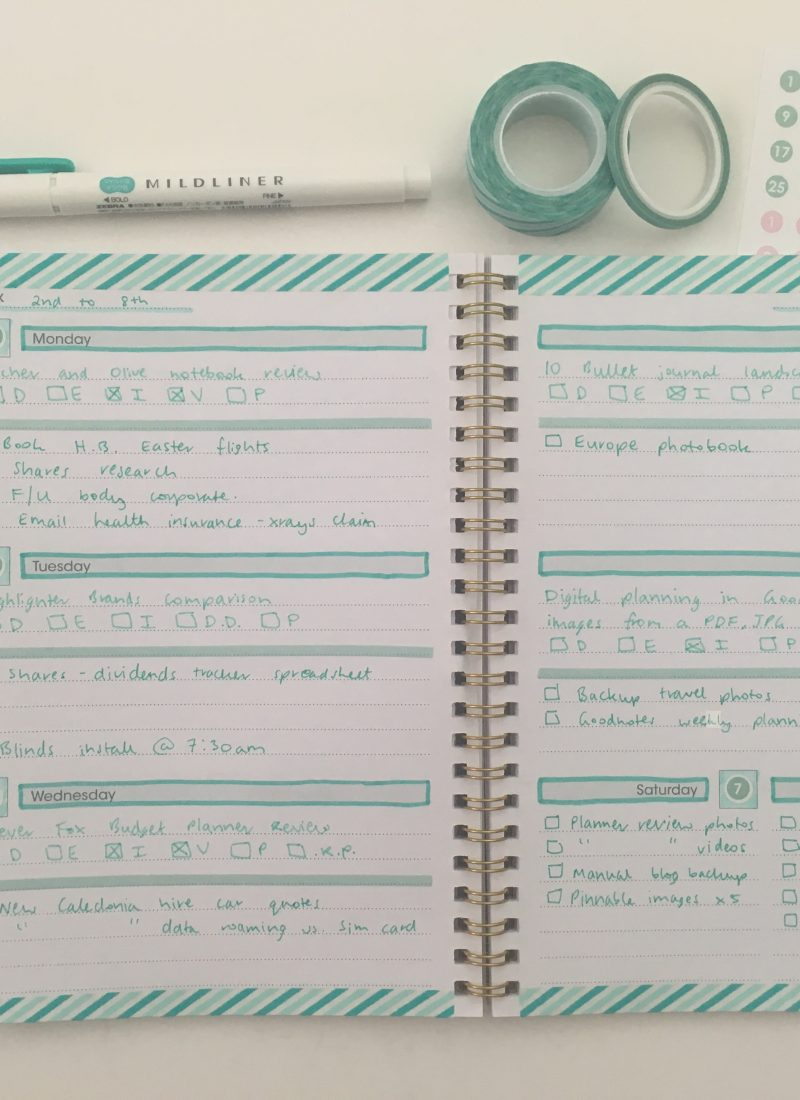decorating a $2 weekly planner washi tape decorating mint zebra mildliner papermate fineliner simple minimalist quick easy reject shop planner hack_04