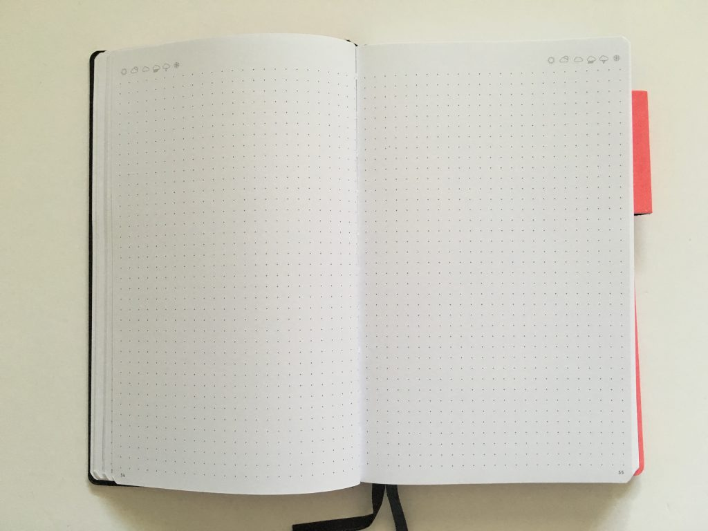 my legami milano dot grid notebook review pros and cons bright white paper pen testing numbered pages index 1 page monthly calendar bullet journal_05