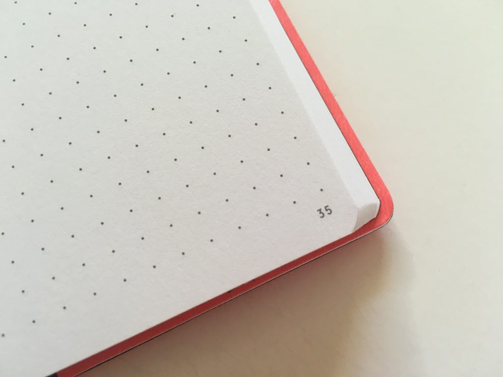 my legami milano dot grid notebook review pros and cons bright white paper pen testing numbered pages index 1 page monthly calendar bullet journal_06