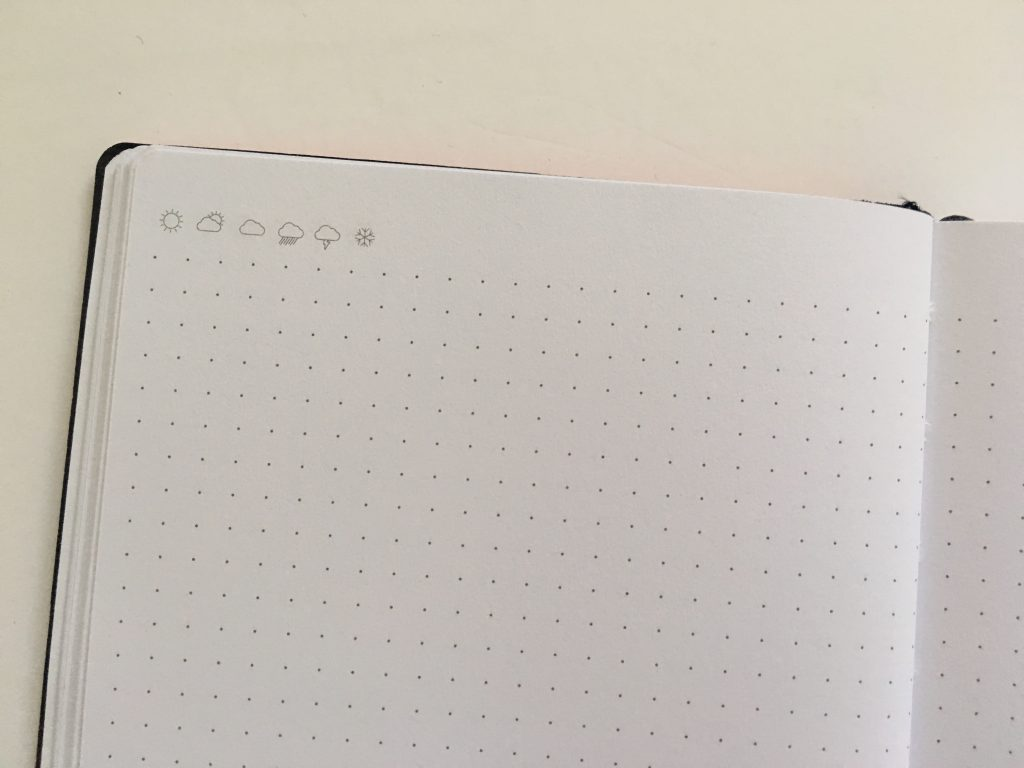 my legami milano dot grid notebook review pros and cons bright white paper pen testing numbered pages index 1 page monthly calendar bullet journal_07