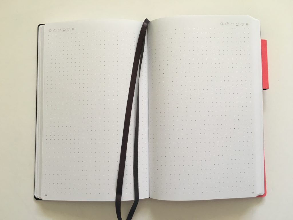 my legami milano dot grid notebook review pros and cons bright white paper pen testing numbered pages index 1 page monthly calendar bullet journal_20