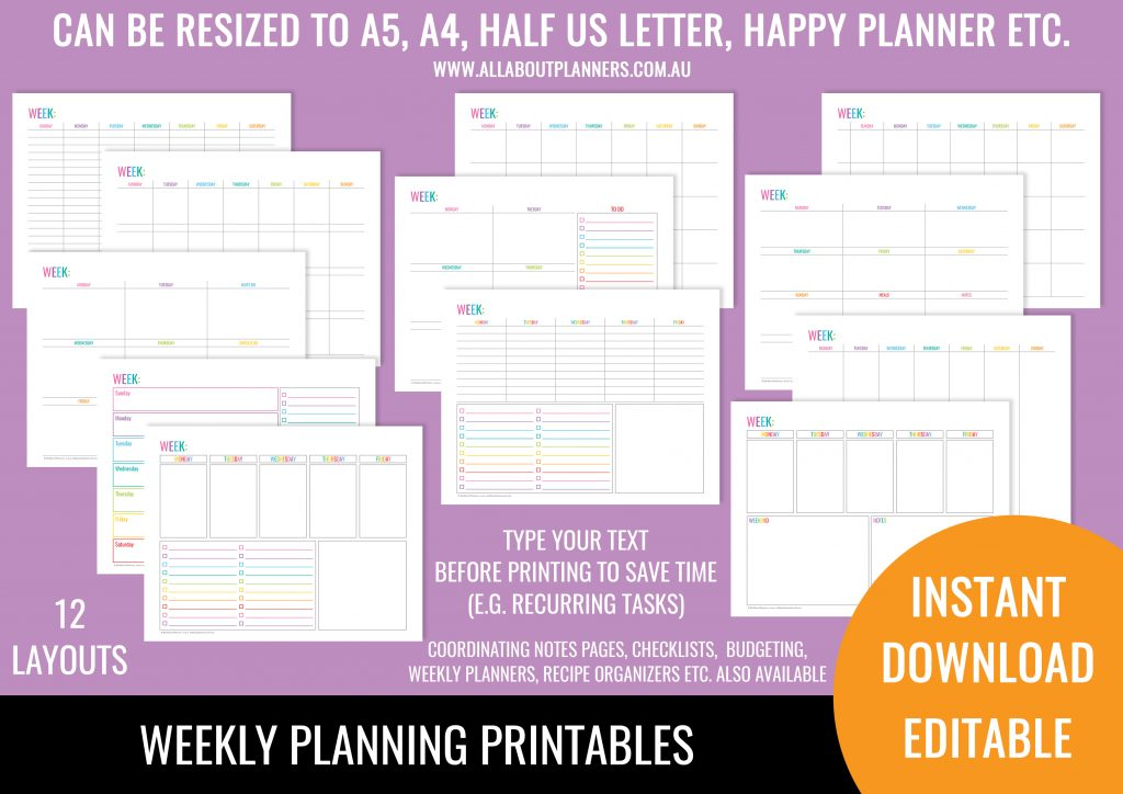 weekly planning printables landscape 1 page rainbow undated perpetual editable type your text before printing pdf instant download