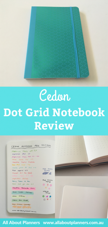 Cedon dot grid notebook review pros and cons pen testing holographic scallop pattern cover aqua pen testing highlighter pen stamps