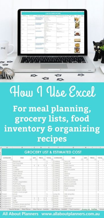 How i use excel for meal planning grocery lists food inventory and organizing recipes tips inspiration ideas editable spreadsheet templates microsoft excel google sheets numbers for mac