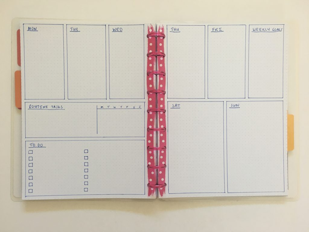 bullet journal vertical weekly spread monday start combined weekend simple quick easy minimalist frixion erasable pen beginner newbie inspiration spread layout ideas_01