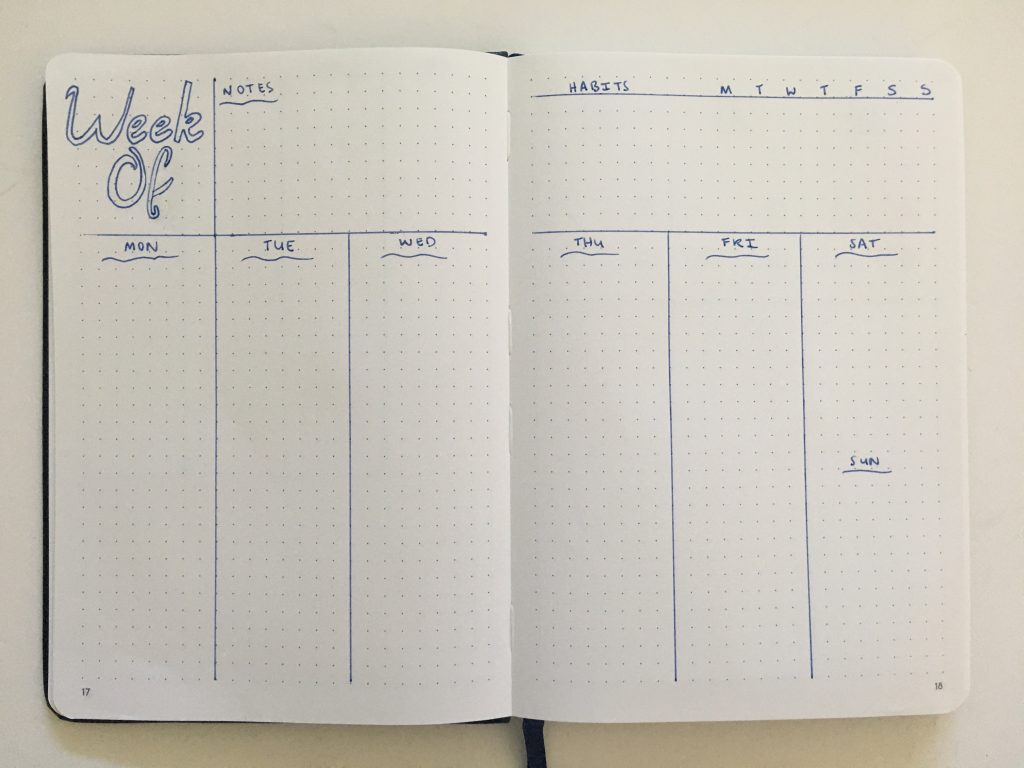 bullet journal vertical weekly spread monday start combined weekend simple quick easy minimalist frixion erasable pen beginner newbie inspiration spread layout ideas_06