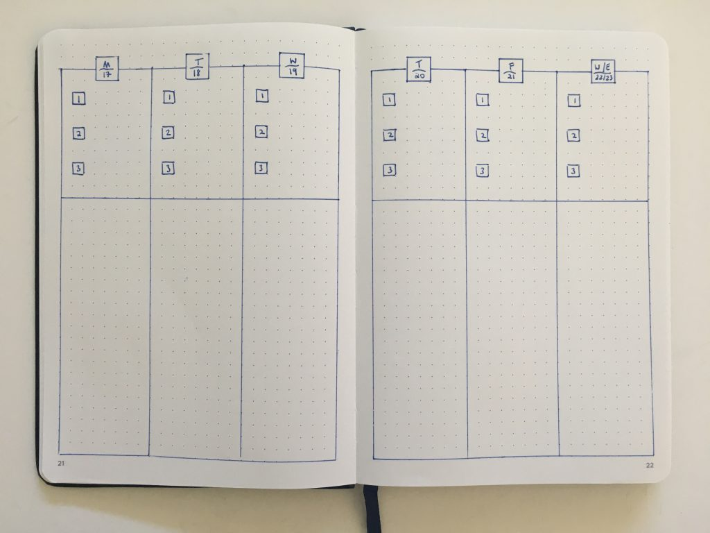 bullet journal vertical weekly spread monday start combined weekend simple quick easy minimalist frixion erasable pen beginner newbie inspiration spread layout ideas_07
