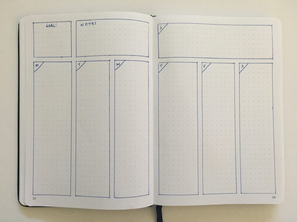 bullet journal vertical weekly spread monday start combined weekend simple quick easy minimalist frixion erasable pen beginner newbie inspiration spread layout ideas_09