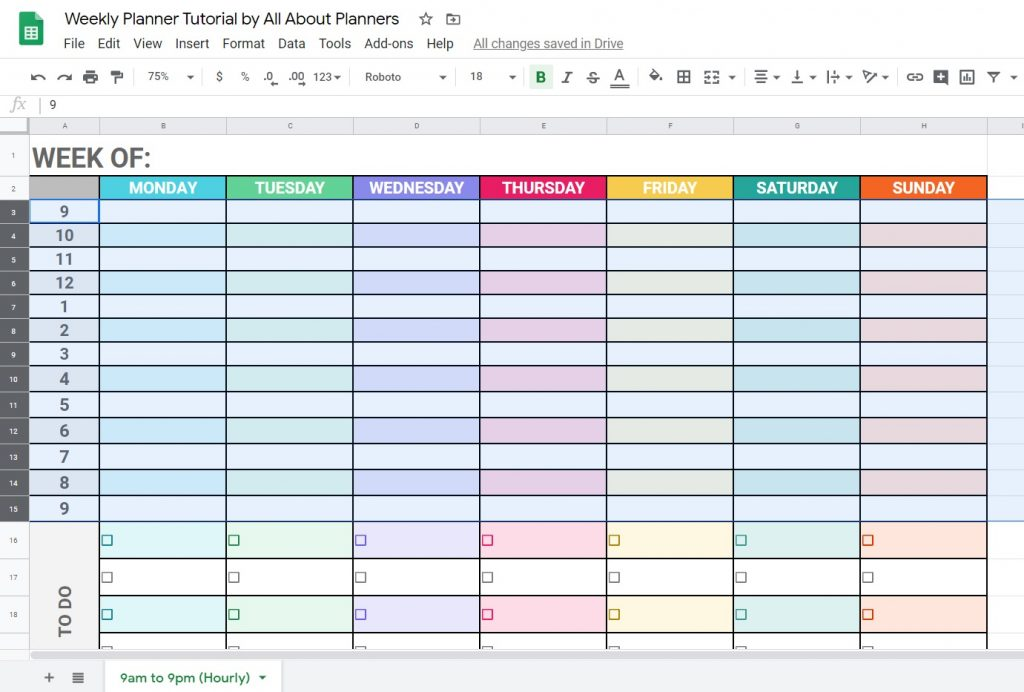 changing row heights in google sheets tutorial how to make a weekly planner using free software