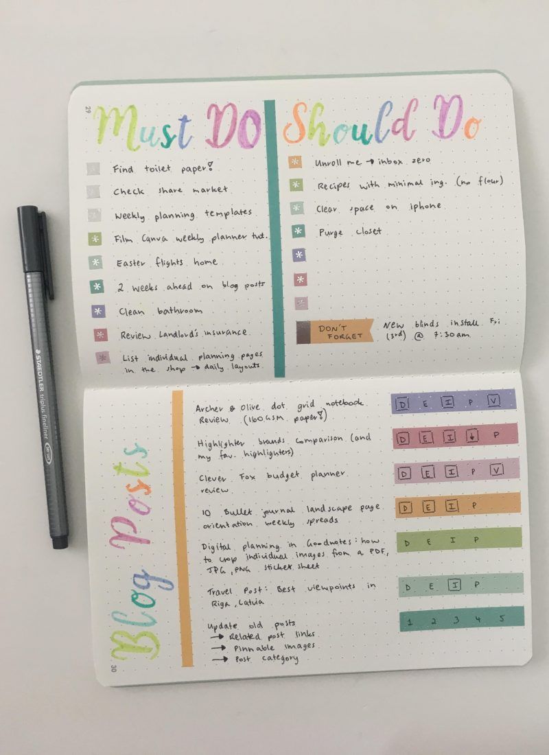 erin condren petite notebook dot grid journal weekly layout stencil rainbow pastel zebra mildliner milkliner ec weekly spread using stickers blogging checklist_05