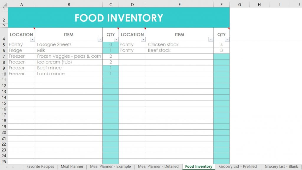 food inventory excel spreadsheet template automatically notify if inventory level drops low pantry freezer fridge editable