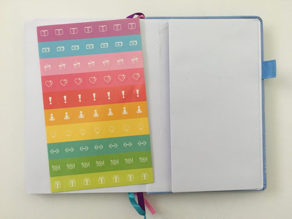 go girl planner review undated weekly monthly sewn bound horizontal lined goals habit tracker checklist bright white paper rainbow stickers pocket folder minimalist_03