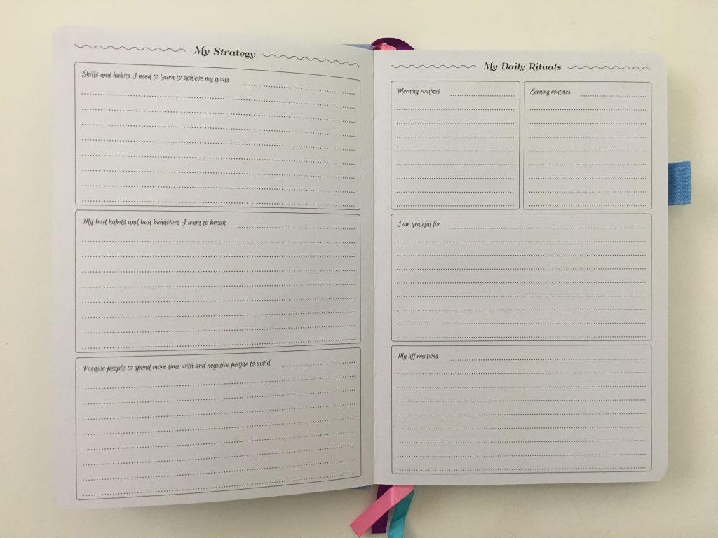 go girl planner review undated weekly monthly sewn bound horizontal lined goals habit tracker checklist bright white paper rainbow stickers pocket folder minimalist_08