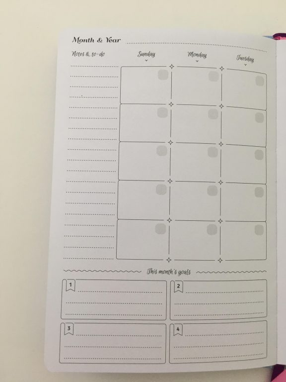 go girl planner review undated weekly monthly sewn bound horizontal lined goals habit tracker checklist bright white paper rainbow stickers pocket folder minimalist_12
