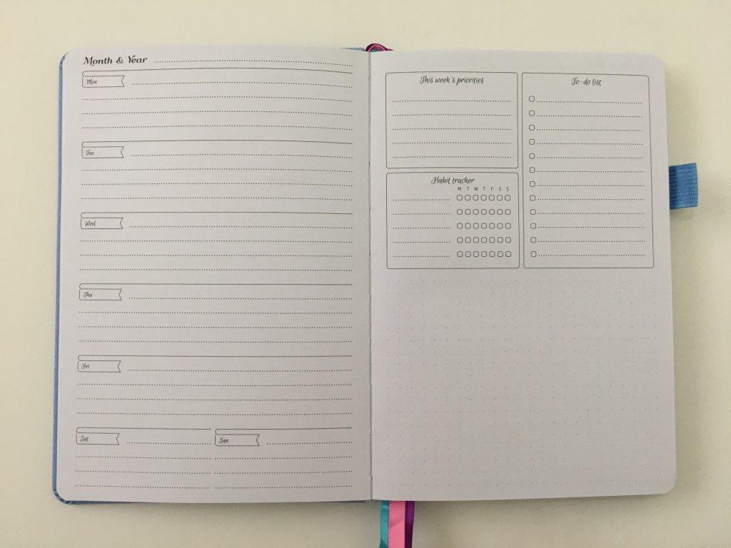 go girl planner review undated weekly monthly sewn bound horizontal lined goals habit tracker checklist bright white paper rainbow stickers pocket folder minimalist_13