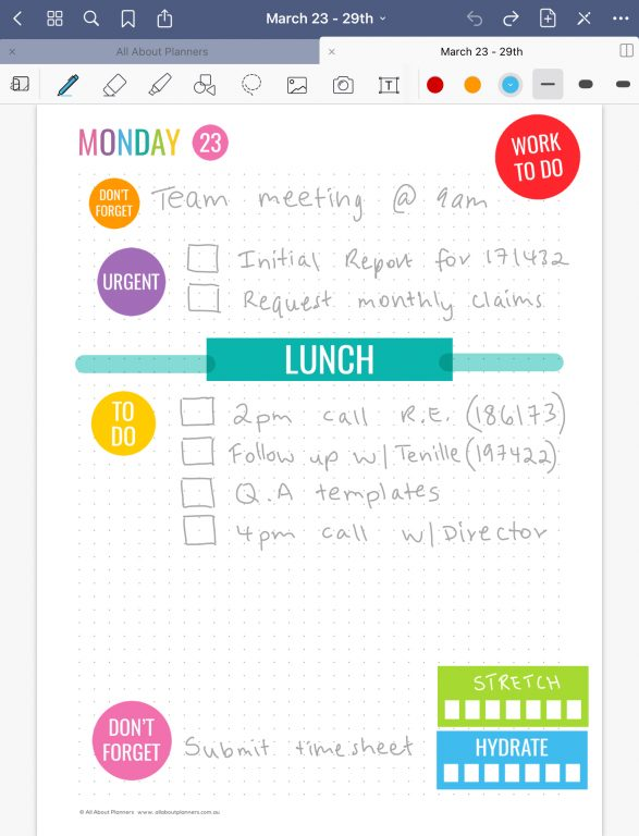 goodnotes daily planner rainbow minimalist planner stickers quick easy dot grid all about planners work setup