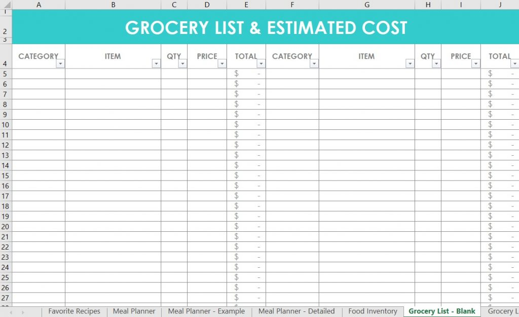 grocery list excel template spreadsheet blank categorised by store section simple minimalist all about planners meal planning system