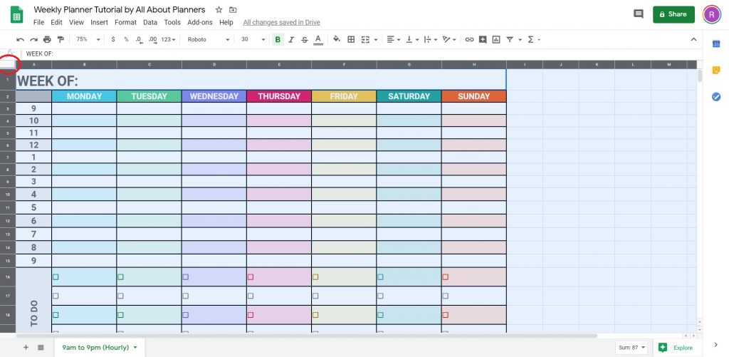 how to make a weekly planner in google sheets quickly change font size style and colors tips tutorial videos instructions simple