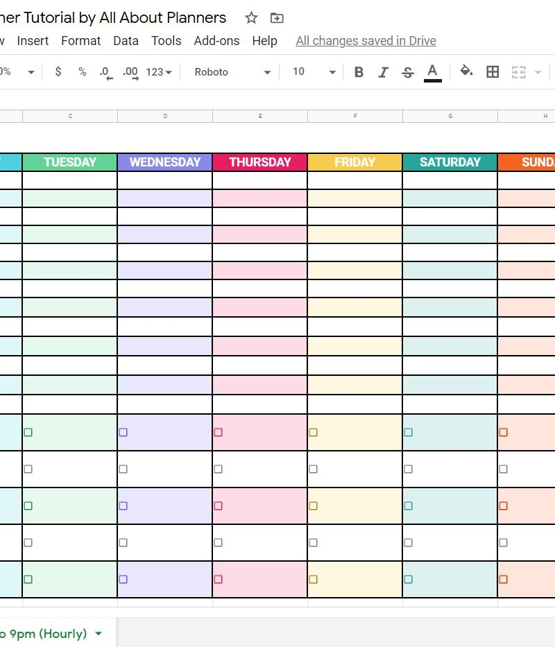 How to make a weekly planner using Google Sheets (free online tool)
