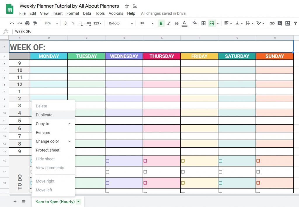 how to make multiple copies of a spreadsheet in google sheets tips tutorial how to make a weekly planner simple tutorial instructions