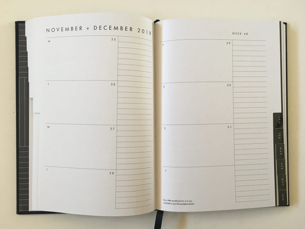 kikki k horizontal weekly planner review monday start lined unlined minimalist hardcover sewn bound 2 pages spread vertical list monthly calendar_10