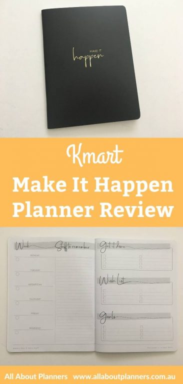 kmart make it happen weekly planner review cheap monthly overview and monthly calendar weekly spread minimalist pros and cons video flipthrough australia