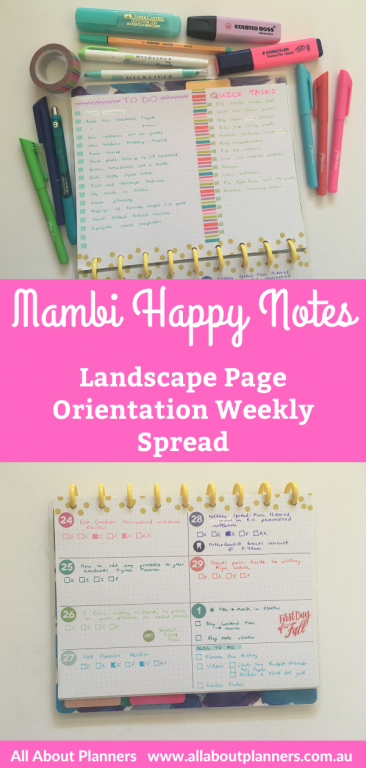 mambi happy notes landscape weekly spread bullet journal rainbow planner stickers minimalist washi tape highlighters