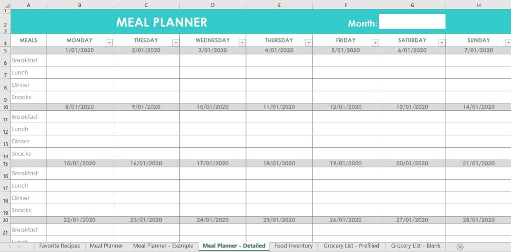 meal planning breakfast lunch dinner snacks family menu plan monthly editable customisable excel spreadsheet template google sheets mac