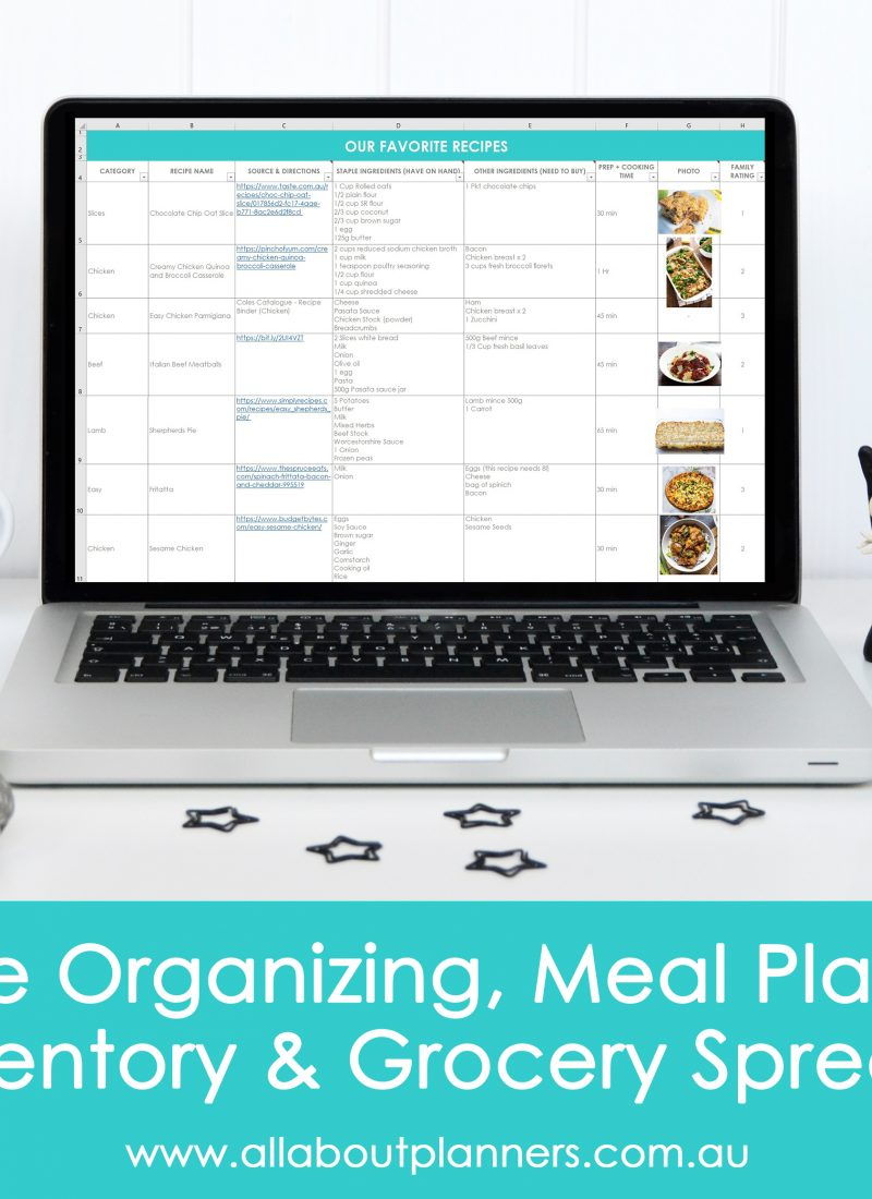 recipe organizing menu planning food inventory and grocery spreadsheets for excel or google sheets numbers for mac