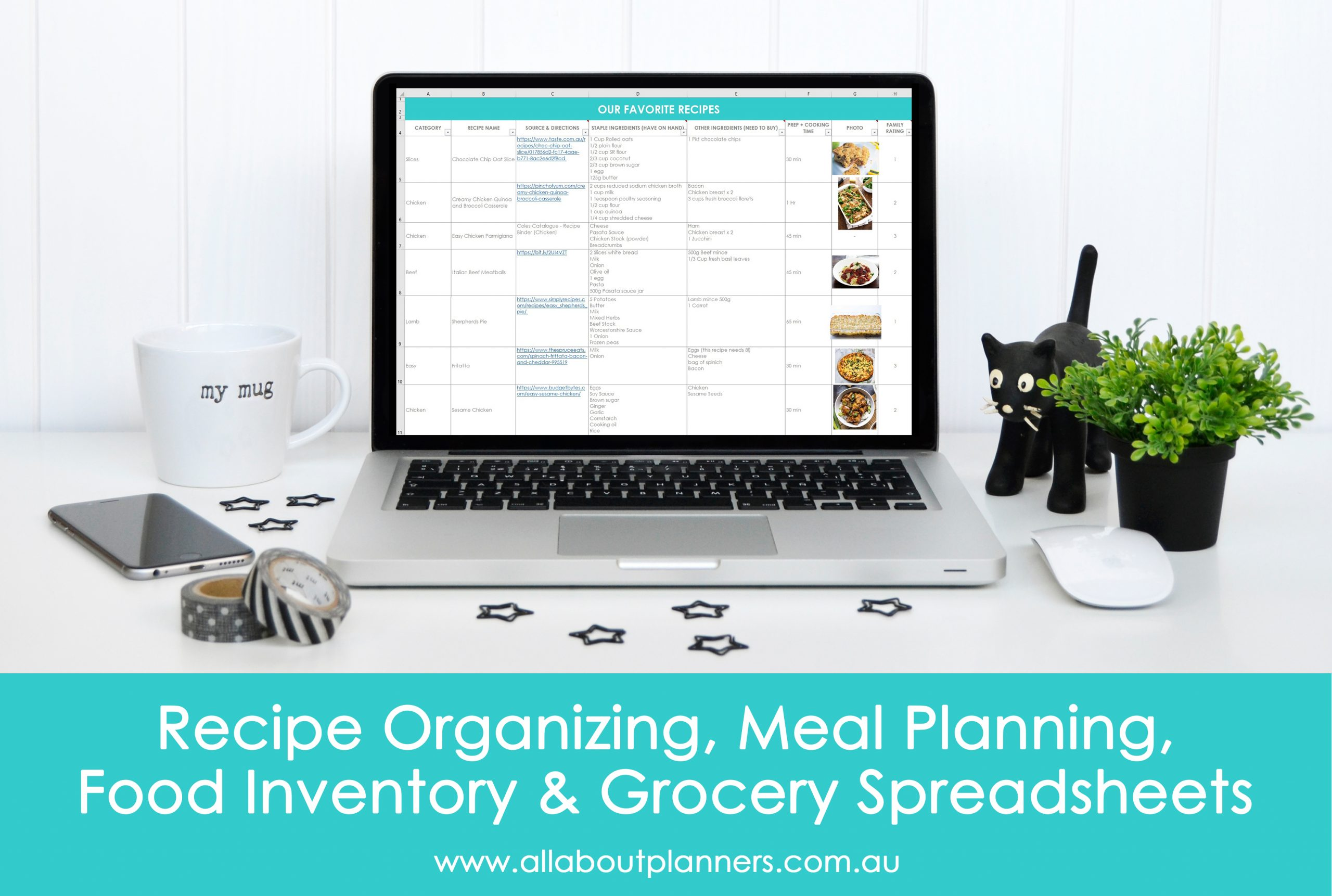 How I Use Excel For Organizing Recipes Meal Planning Food Inventory And Grocery Lists All About Planners