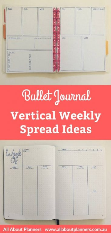 vertical weekly spreads bullet journal bujo layouts monday start 5 day week simple quick minimalist easy all about planners tips inspiration