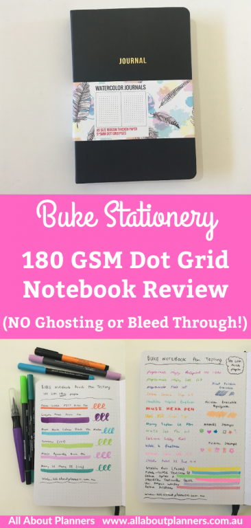 buke stationery 180 gsm dot grid notebook best paper quality no ghosting or bleed through pen testing pros and cons video bujo